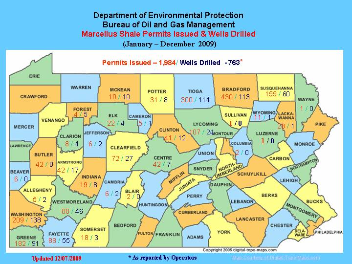 Marcellus Wells permitted-drilled Jan-Dec 2009